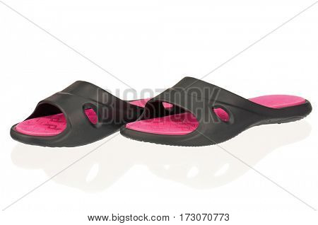 Black beach shoes isolated on white background