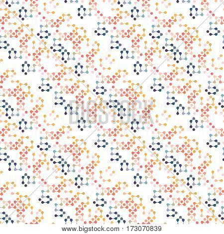 Multicolor Molecules Seamless Pattern Vector Eps10