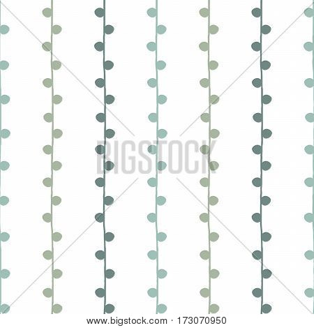 Seamless vector nature pattern. Green and white twig background. Hand drawn abstract branch illustration