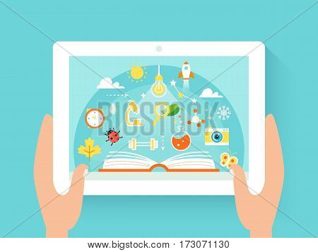Hands Holding Tab with Education App. Vector Illustration