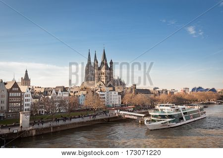 COLOGNE GERMANY - MARCH 7 2015: Great St. Martin Church And Dom In Cologne at River Rhine.