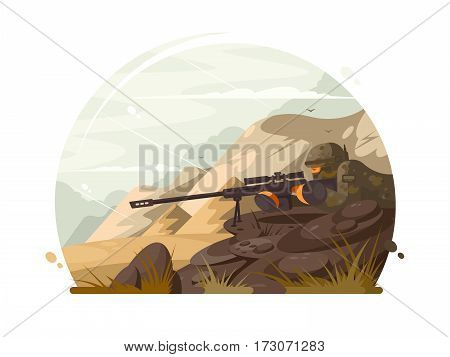 Military sniper lies in wait with rifle optical sight. Vector illustration