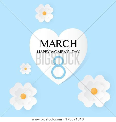 Abstract Blue Floral Greeting card - International Happy Women s Day - 8 March holiday background with paper cut flowers. Trendy Design Template. Vector flat illustration EPS10