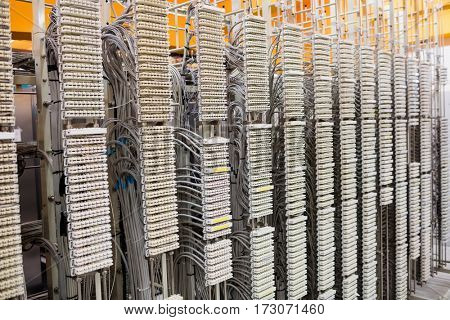 Row of servers rack in server room