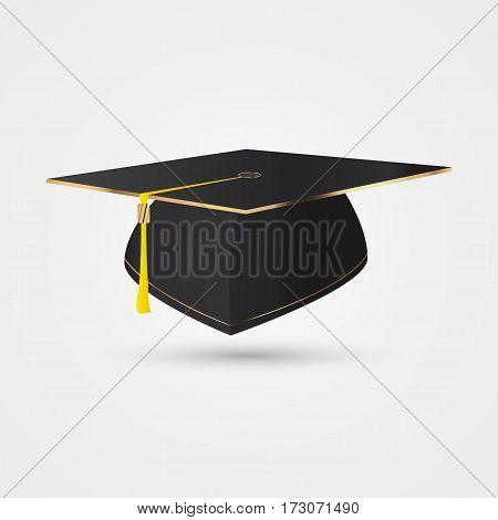 Graduation cap in golden style. Vector illustration