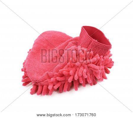 Car washing mitt glove sponge isolated over the white background