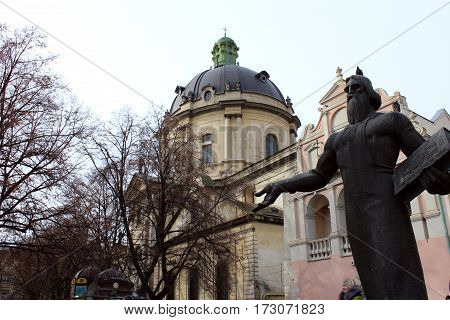 Ivan Fyodorov created first ukrainian primer. His monument like welcomes you to perfect Lviv. I hope you enjoy.
