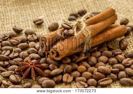 coffee beans cinnamon sticks and star anise on burlap background.