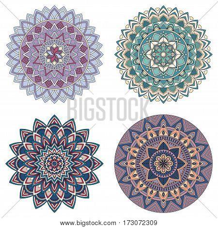 Set of color floral mandalas, vector illustration