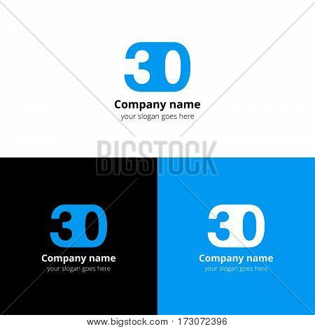 30 logo icon flat and vector design template. Monogram years numbers three and zero. Logotype thirty with blue color. Creative vision concept logo, elements, sign, symbol for card,