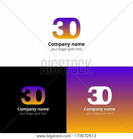 30 logo icon flat and vector design template. Monogram years numbers three and zero. Logotype thirty with purple-yellow gradient color. Creative vision concept logo, elements, sign, symbol for card,