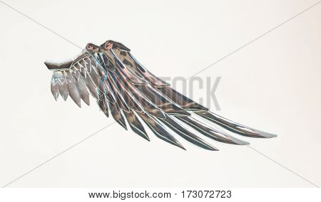 Metallic silver angel wing.Freedom fairy.Isolated on white background