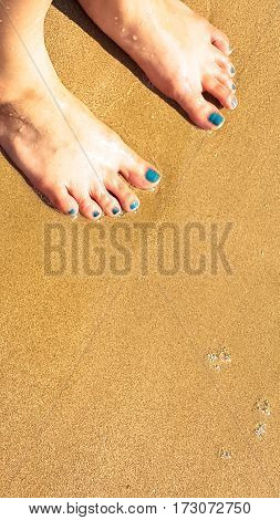 woman's foot stand on the wet sand on the beach