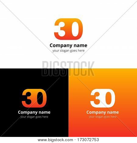 30 logo icon flat and vector design template. Monogram years numbers three and zero. Logotype thirty with orange, yellow gradient color. Creative vision concept logo, elements, sign, symbol for card,