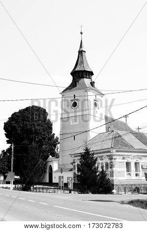 Fortified saxon church in the village Bod, Transylvania, (German: Brenndorf) a commune in Braşov County, Romania