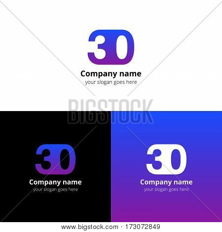 30 logo icon flat and vector design template. Monogram years numbers three and zero. Logotype thirty with purple-pink gradient color. Creative vision concept logo, elements, sign, symbol for card,