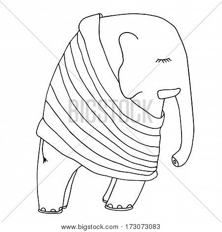 Cute sleeping elephant in a pajamas or pullover. Hand drawn good night monochrome illustration. Isolated on white background