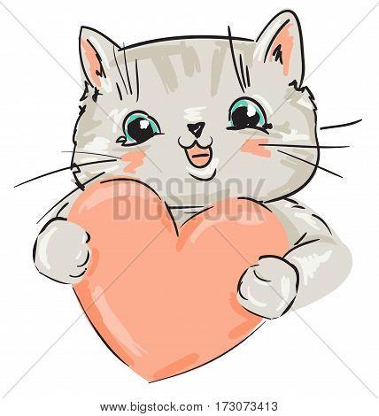 Cute card for Valentine's Day, cat and heart vector