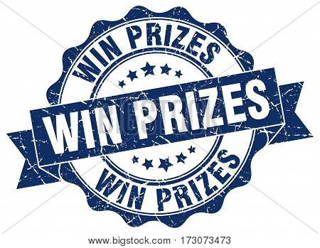Win Prizes. Stamp. Sign. Seal. Round. Retro. Ribbon