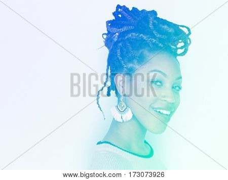 Woman with braided hair side view profile shot
