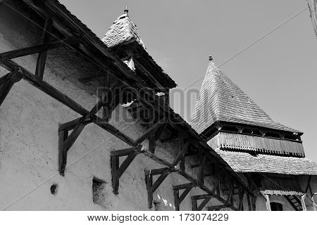 Courtyard of the old medieval saxon fortified church Homorod, Transylvania, Romania.