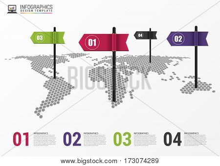 Infographic design template. World map with pointer. Vector illustration