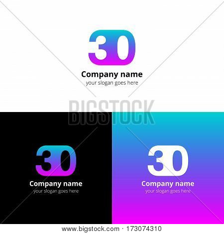 35 logo icon flat and vector design template. Monogram years numbers three and five. Logotype thirty five with blue-pink gradient. Creative vision concept logo, elements, sign, symbol for card,