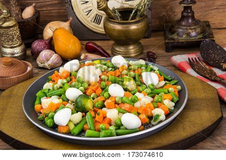 Vegetarian Food: mix of stewed vegetables with mozzarella balls. Studio Photo