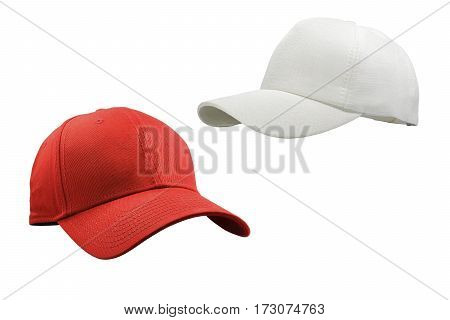 Colorful white and red fashion cap isolated on white background with clipping path.