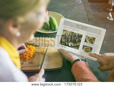 Photo Gradient Style with Senior Cooking Food Kitchen Tablet