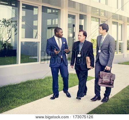 Diverse Business People Talk Break