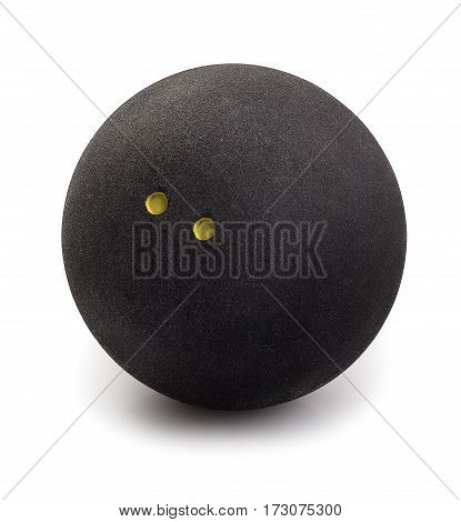 Squash ball with two dots isolated on white with clipping path. Closeup of black rubber squash ball