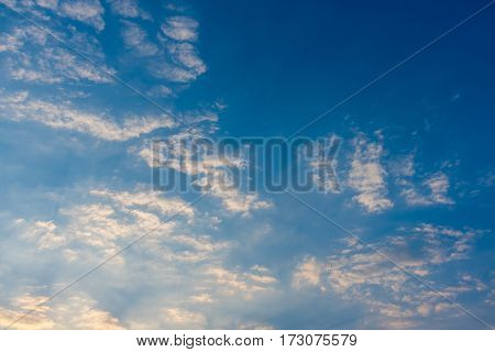 vintage tone image of blue sky and white cloud on day time for background usage.(horizontal)