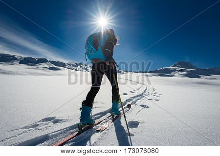 Ascent With Ski Mountaineering And Climbing Skins For A Single Woman