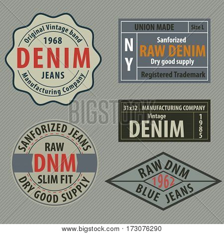 vintage original blue jeans raw denim labels genuine exclusive brandsvector illustration