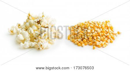 Popcorn and corn seeds isolated on white background.