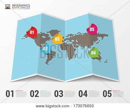 World map with infographic elements. Modern design. Vector illustration
