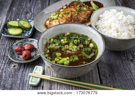 Fish Teriyaki with Rice and Miso Soup