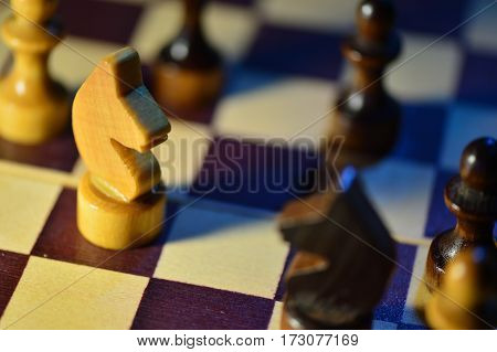 Chess Figures On A Chessboard Close Up