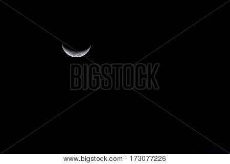 Waxing Crescent Moon With Clear Sky.