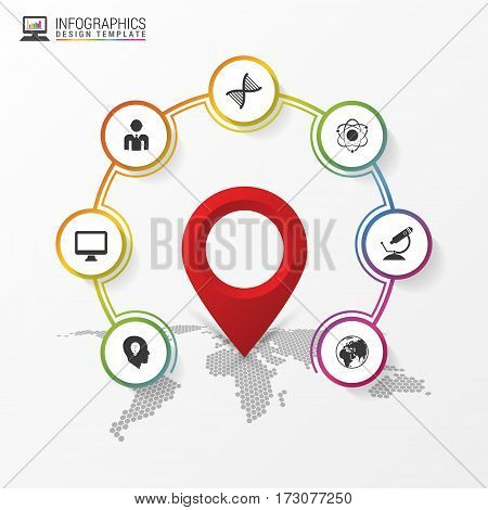 Infographic design. Report template with location pointer. Vector illustration