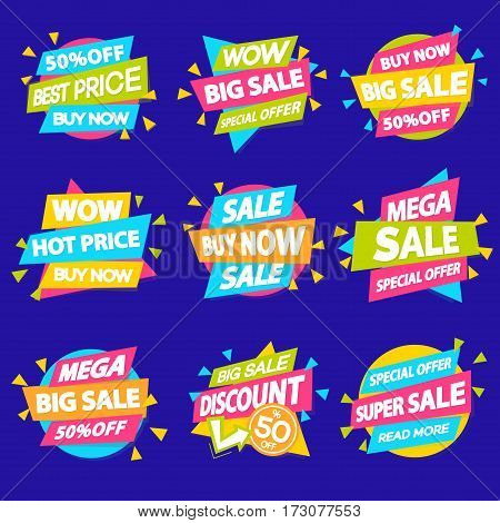 Set of sale discount sticker special offer, advertisement tag, sale, big sale, mega sale, hot price, discount poster isolated on cyan background. Vector Illustration