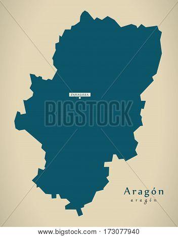Modern Map - Aragon Spain Es Illustration