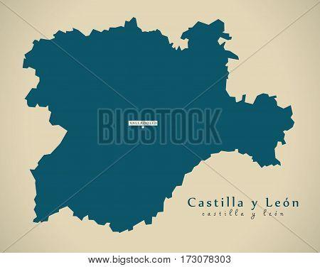 Modern Map - Castilla Y Leon Spain Es Illustration