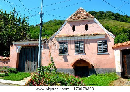 Typical house in Biertan, one of the most important Saxon villages with fortified churches in Transylvania, having been on the list of UNESCO World Heritage Sites since 1993