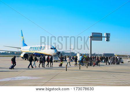 Passengers Boarding Plane, Porto, Portugal