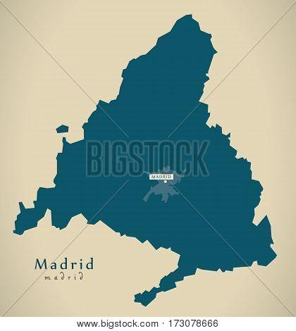 Modern Map - Madrid Spain Es Illustration