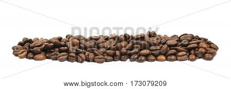 Line pile of roasted coffee beans isolated over the white background
