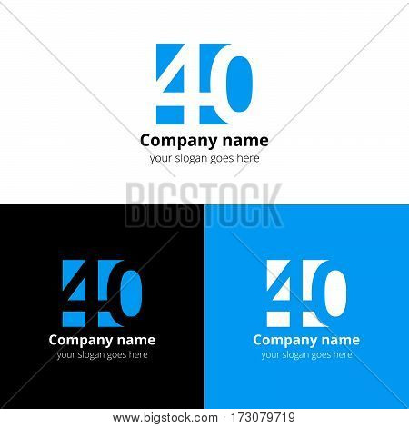 40 logo icon flat and vector design template. Monogram years numbers four and zero. Logotype forty with blue. Creative vision concept logo, elements, sign, symbol for card,