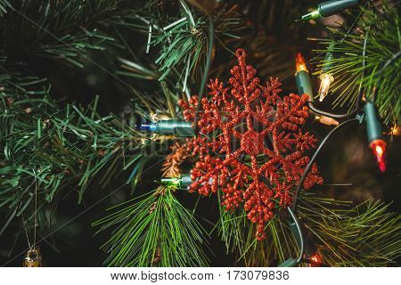 Close-up of snowflake hanging on christmas tree during christmas time